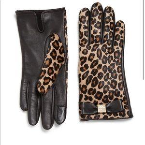 Kate Spade Leopard leather & calf hair tech gloves